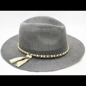 Accessories - NEW Fedora Panama Trendy Gray Hats Pearl Band